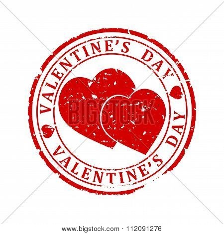 Damaged Red Stamp With The Words -  Valentine's Day - Illustration