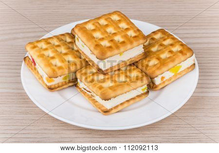 Biscuits Sandwiches With Souffle And Marmalade