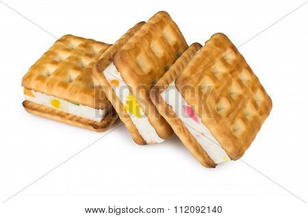 Three Biscuits Sandwiches With Souffle