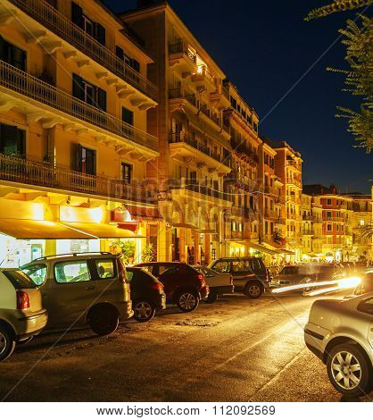 Typical Buildings At Night, Corfu City, Greece