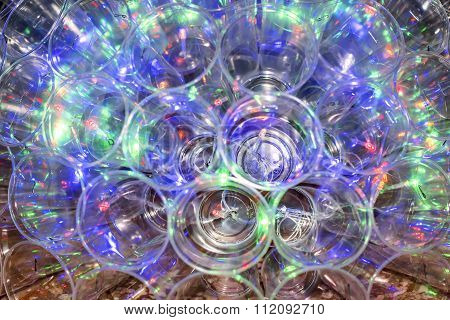 Glowing Lamp Made Out Of Plastic Cups And Lights
