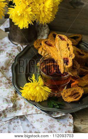 Biscotti On Vintage Plate
