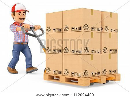 3D Courier Delivery Man Pushing A Pallet Truck With Boxes