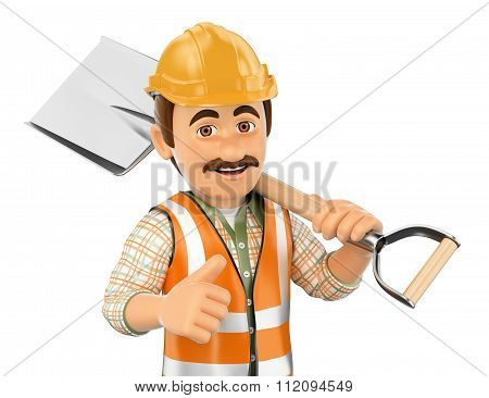 3D Construction Worker With Shovel And Thumb Up