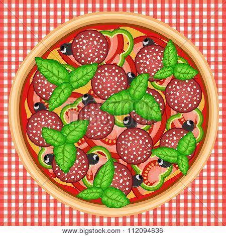 Pizza Basil Salami