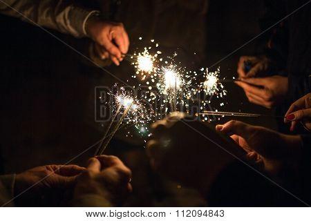 Salute. Fireworks. Sparklers
