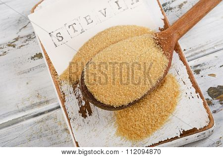 Cane Sugar With Stevia In Spoon.