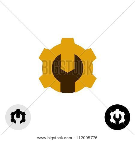 Tech Logo With Gear And Wrench. Negative Space Method.