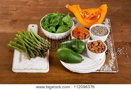 Food Containing Vitamin E On  Wooden Table.