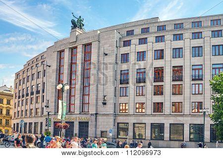 Prague, Czech Republic- September 12, 2015: The Building Of The Czech National Bank. Ordinary Views