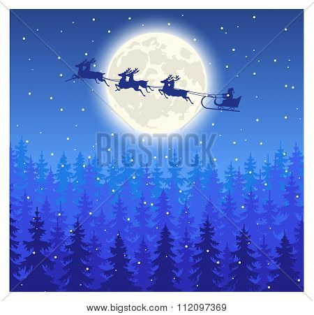 Santa Claus flying on sledge on the sky against a fairy forest