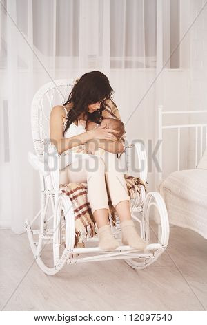 Woman and new born relax, retro