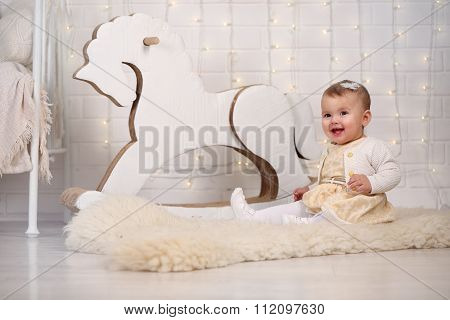 girl with rocking horse