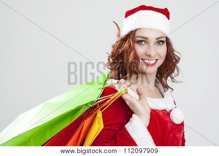 New Year And Christmas Concept And Ideas. Closeup Portrait Of Laughing Caucasian Red-haired Santa Gi