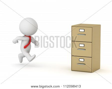 3D Character Businessman Running To Archive Cabinet