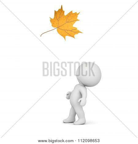 3D Character Looking Up At Autumn Leaf