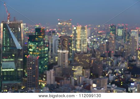 Blurred bokeh lights Tokyo city downtown background