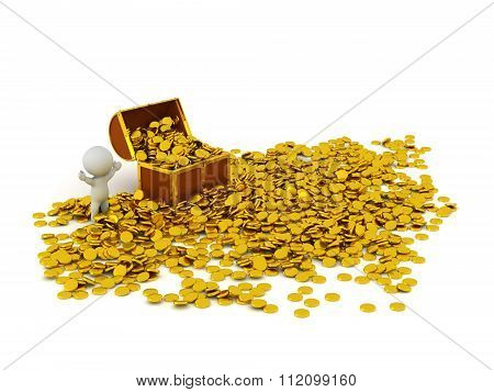 3D Character With Treasure Chest And Many Golden Coins