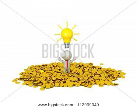 3D Character Businessman Wearing Tie With Light Bulb Idea And Golden Coins