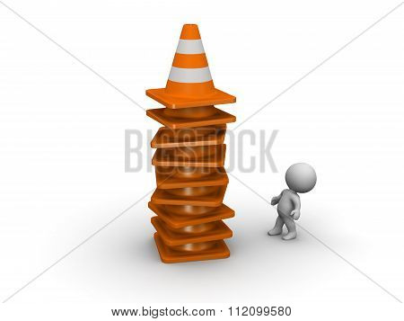 3D Character And Tall Stack Of Orange Road Cones