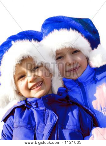 Kids Playing Blue Santa Claus