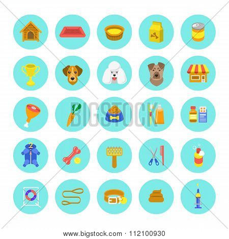 Flat Colorful Dog Care Round Vector Web Icons