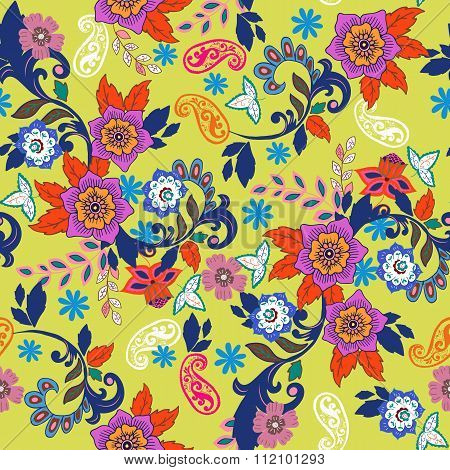 Paisley Seamless Texture With Colorful Flowers And Leafs
