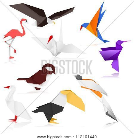 Vector Colorful Bird Origami Set Collection