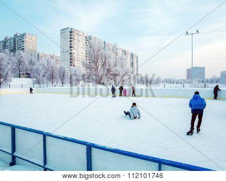 Outdoor Ice Skating At City