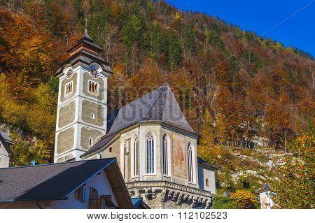 Catholic Parish Church Of Hallstatt (pfarre Hallstatt ) Exterior During The Autumn