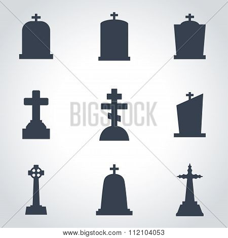 Vector Black Gravestone Icon Set