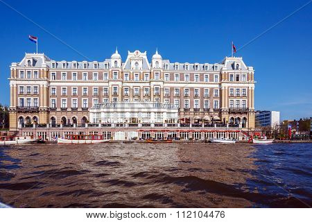 Building Of Amstel Hotel From Canal, Amsterdam