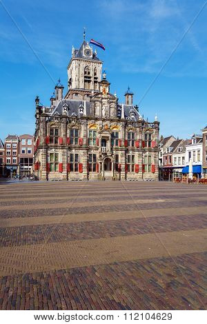 Vintage Building Of City Hall, Delt, Holland