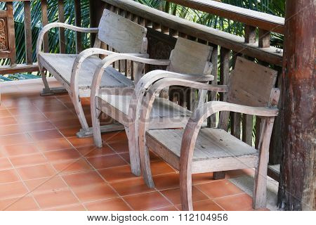 Old Wooden Chair On The Balcony