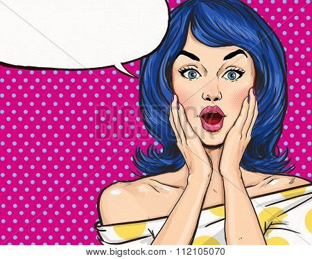 Pop Art illustration of surprised girl with the speech bubble.Pop Art girl.Party invitation. Birthda