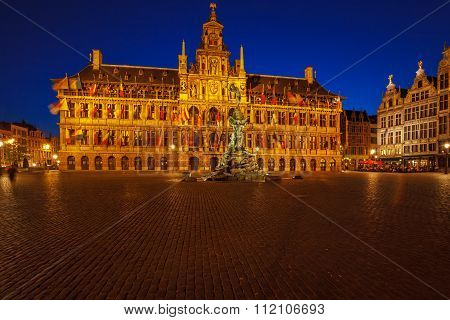 City Hall And Brabo Fountain At Grote Markt, Antwerp
