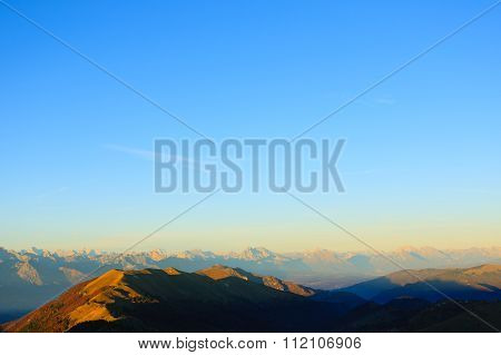Mountains Top On Blue Sky