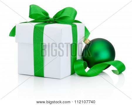 White Gift Box And Christmas Green Bauble Isolated On White Background
