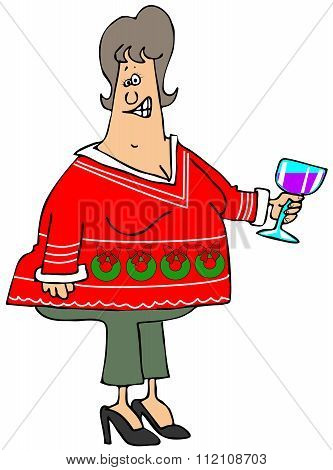 Woman wearing an ugly Christmas sweater