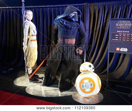 LOS ANGELES - DEC 14:  Star Wars Lego Atmosphere at the Star Wars - The Force Awakens World Premiere at the Hollywood & Highland on December 14, 2015 in Los Angeles, CA
