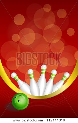 Background abstract red bowling green ball frame vertical gold ribbon illustration vector