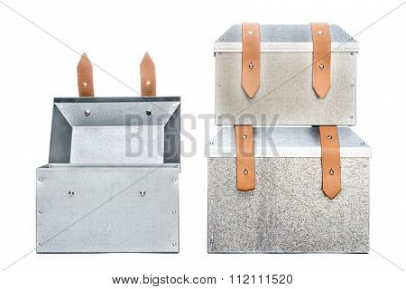 Three Metal Tool Box On White Background