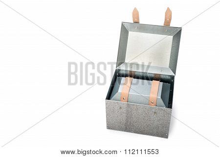 Metal Box In Side Of Metal Box On White Background