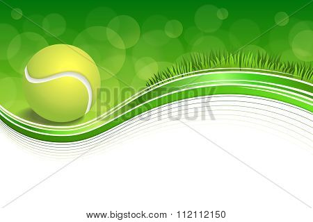 Background abstract green grass sport white tennis yellow ball frame illustration vector