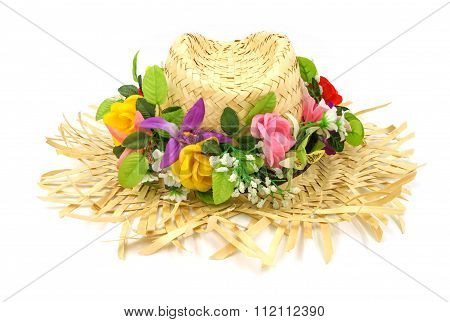Straw Hat With Flower Isolated On A White Background.