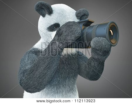 Panda Animail Character Photographer Camera Takes Picture Isolated Background 3D Cg Render Digital I