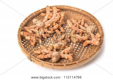 Turmeric Root In The Basket On White Background