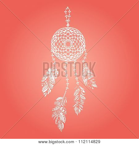 Hand drawn vector white dream catcher with feathers on red background.