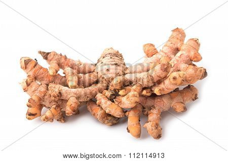 Turmeric Root On White Background