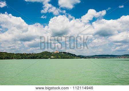 landscape, azure water and blue sky, lake